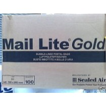 200 X J/6 MAIL LITE GOLD BUBBLE LINED PADDED BAGS