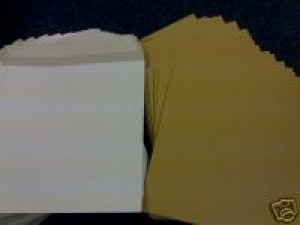 "25 12"" WHITE RECORD MAILERS AND 25 STIFFENERS"
